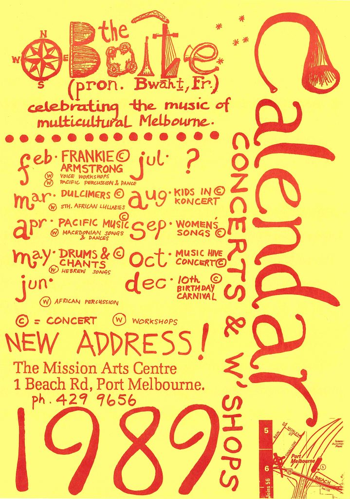Calendar Poster for Mission to Seafarers concerts and workshops, 1989