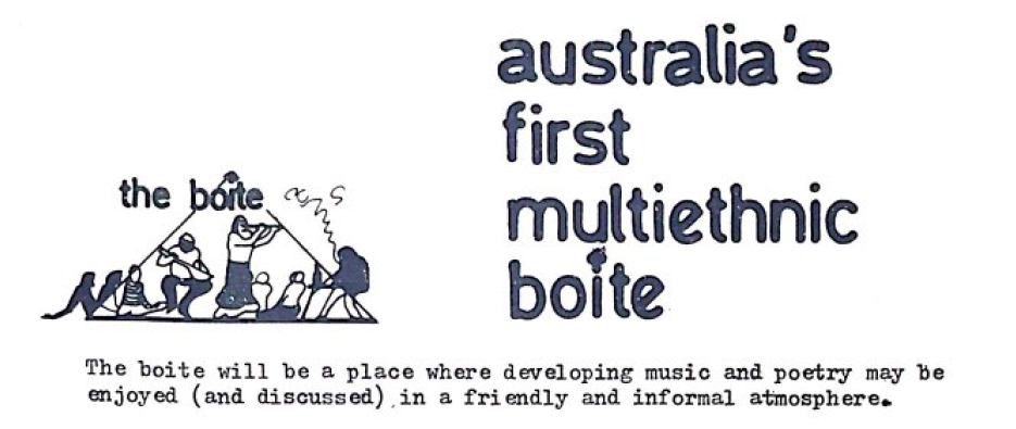 Flyer for Australia's First Multiethnic Boîte