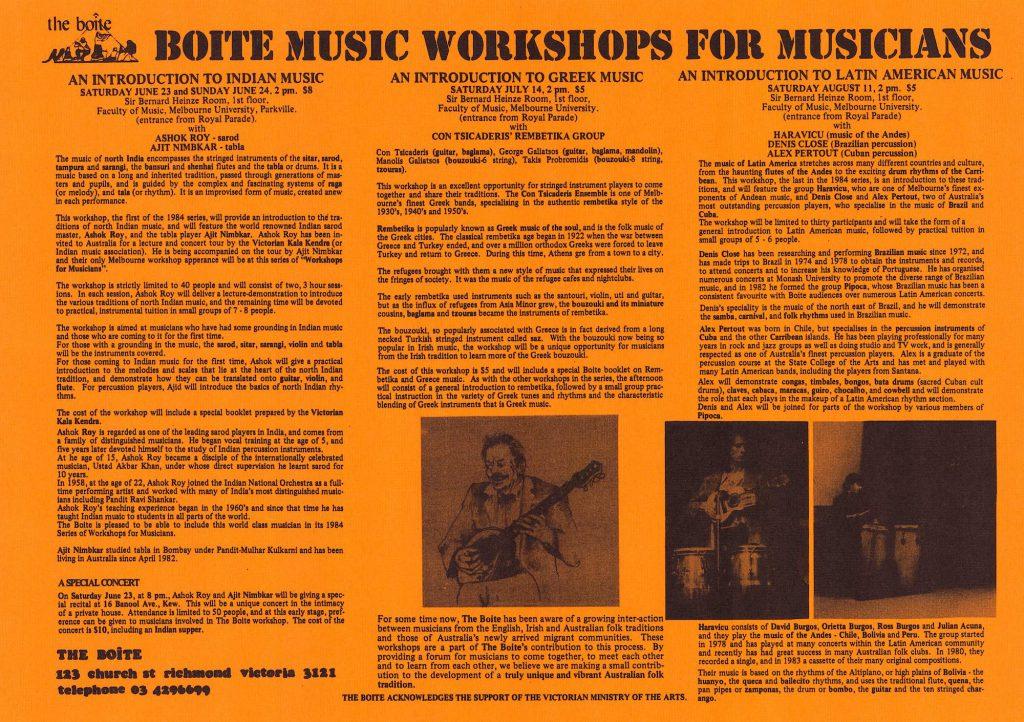 The Boîte Workshops for Musicians Flyer, 1984